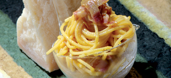 Spaghetti carbonara with grana padano